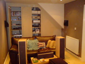 Home cinema cupboards flush with push catches