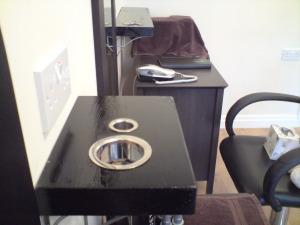 Simple shelving for salon