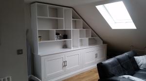 Bespoke Storage hardwood frame and doors with MDF shelving.